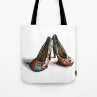 heels Tote Bags featuring Japanesque Heels by hivernoir