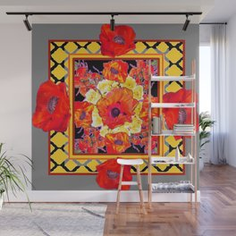 DECORATIVE GREY FLORAL  ABSTRACTED  ORANGE-RED POPPIES Wall Mural