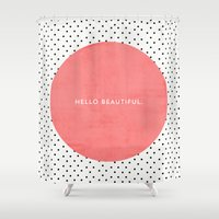 hello beautiful Shower Curtains featuring HELLO BEAUTIFUL - POLKA DOTS by Allyson Johnson