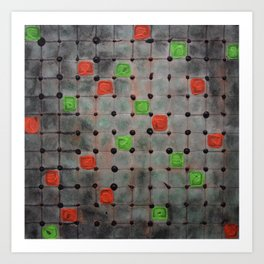 Grid with Green and Orange Highlights Art Print
