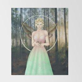 Spring Woodland Fairy Throw Blanket