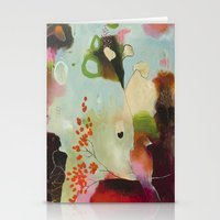 "flora bowley Stationery Cards featuring ""Deep Embrace"" Original Painting by Flora Bowley by Flora Bowley"