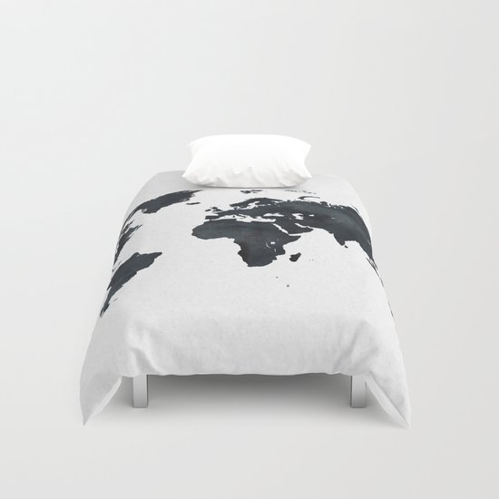 World map in black and white ink on paper duvet cover by world map in black and white ink on paper duvet cover by naturemagick society6 gumiabroncs Images