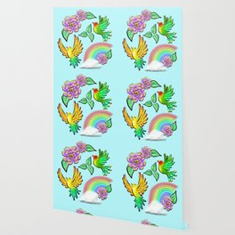 Birds Flowers and Rainbows Doodle Pattern Wallpaper