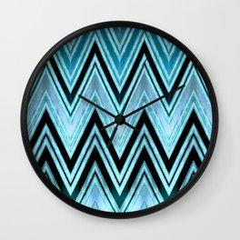 Blue Silk Chevron Wall Clock