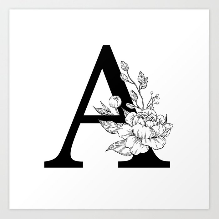 Letter Art Print.A Botanical Monogram Letter Initial With Peonies Art Print By Epine