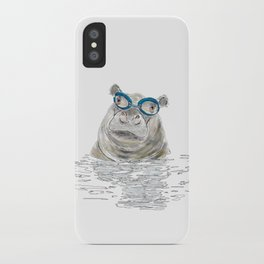 Hippo with swimming goggles iPhone Case