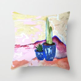 Porch Cactus Vibes - Watercolor Painting Mixed Media Throw Pillow