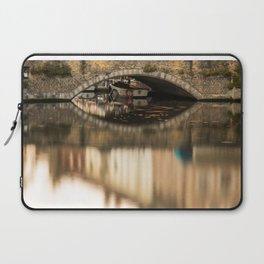 Boat waddling on channels of Bruges Laptop Sleeve