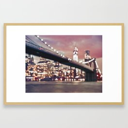 New York City Brooklyn Bridge Lights Framed Art Print