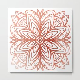 Mandala No.1 in Rose Gold Metal Print