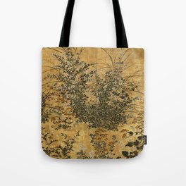 Vintage Japanese Floral Gold Leaf Screen With Morning Glory Tote Bag