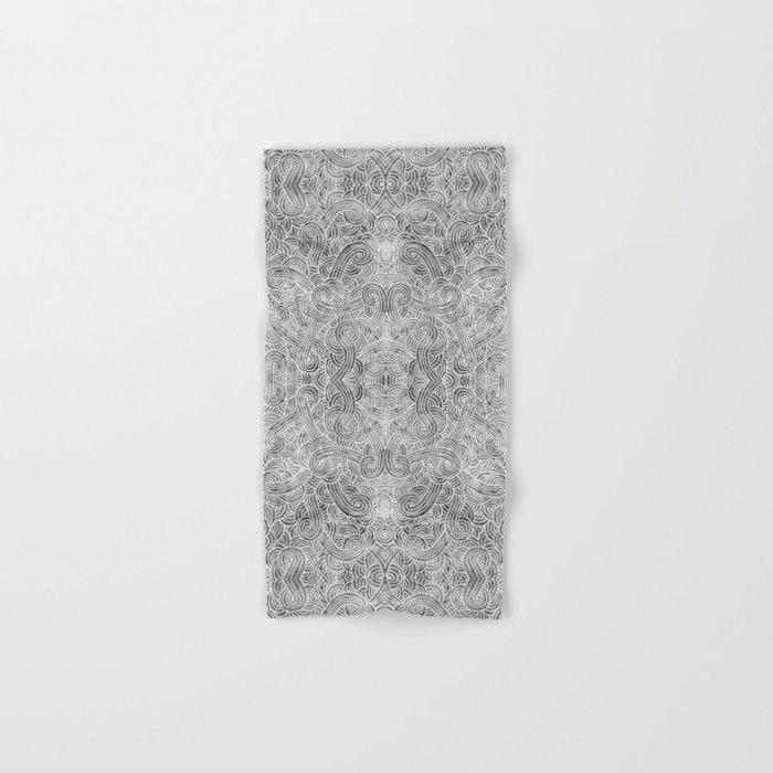 Grey and white swirls doodles Hand & Bath Towel