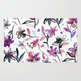 Ink flowers pattern - Viola Rug