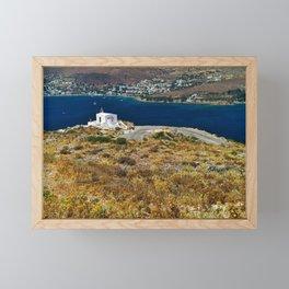 Profitis Elias chapel, Leros. Framed Mini Art Print