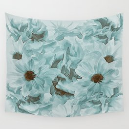 Soft Slate Blue Floral Abstract Wall Tapestry