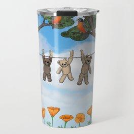 robins, poppies, & teddy bears on the line Travel Mug