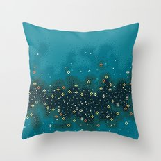 Blue Rift Galaxy (8bit) Throw Pillow