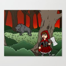 Little Red Riding Hood Versus Big Bad Wolf Canvas Print