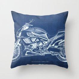 Diavel Carbon Blueprint Throw Pillow