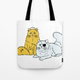 Navy Cats Tote Bag