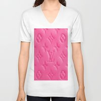 lv V-neck T-shirts featuring Pink LV by I Love Decor