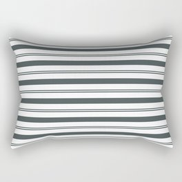 PPG Night Watch Pewter Green and White Stripes, Wide and Narrow Horizontal Line Pattern Rectangular Pillow