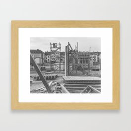 Construction site in the city Framed Art Print