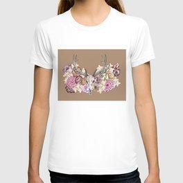 Floral Elk Skull Background T-shirt