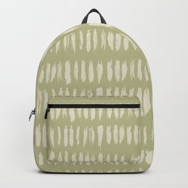 Pale Beige on Earthy Green Parable to 2020 Color of the Year Back to Nature Grunge Vertical Dashes Backpack