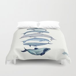 """""""Rare Cetaceans"""" by Amber Marine - Watercolor dolphins and porpoises - (Copyright 2017) Duvet Cover"""