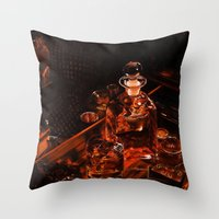 whiskey Throw Pillows featuring Whiskey by Esra Meral Demircan