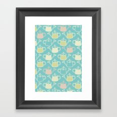 Watering Cans On Teal Framed Art Print