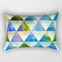 Modern Blue & Green Geometric Triangle Design Rectangular Pillow