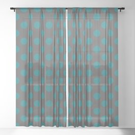Large Polka Dots in Teal on Charcoal Gray Sheer Curtain