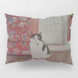 Cat with Floral Chair Pillow Sham