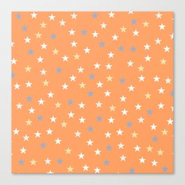 Peach Pastel Background With Stars Canvas Print