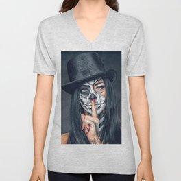 Dia De Los Muertos Day of the Dead Sugar Skull Model Makeup Ultra HD Unisex V-Neck