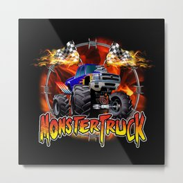Monster Truck blue on Fire                                          Metal Print