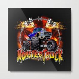Monster Truck blue on Fire                                          Metal Print