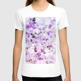 Shabby vintage lavender violet watercolor floral T-shirt