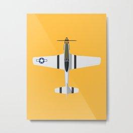 P-51 Mustang Fighter Aircraft - Yellow Metal Print