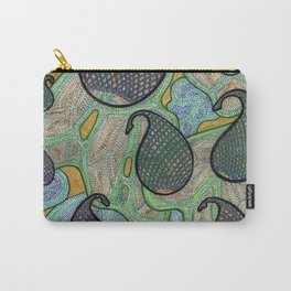 Blue Lattice Paislies Over Leaves Carry-All Pouch