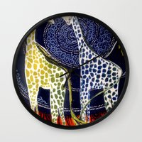 giraffes Wall Clocks featuring Giraffes by Ša Rūnė