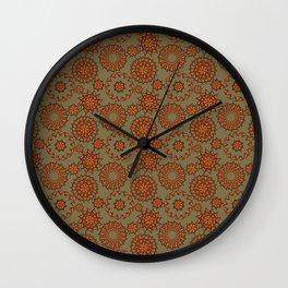 Mariposa Mandalas in Olive Wall Clock