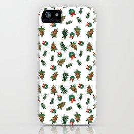 Cute Christmas Foliage Print iPhone Case