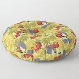 Tits on a mountain ash Floor Pillow