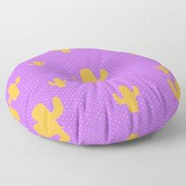 Mustard Cactus White Poka Dots in Purple Background Pattern Floor Pillow