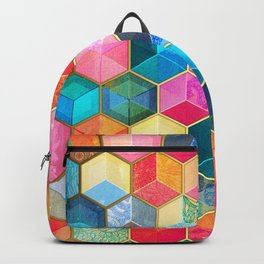Crystal Bohemian Honeycomb Cubes - colorful hexagon pattern Backpack