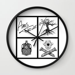 Amos Fortune Folklore Grid Wall Clock